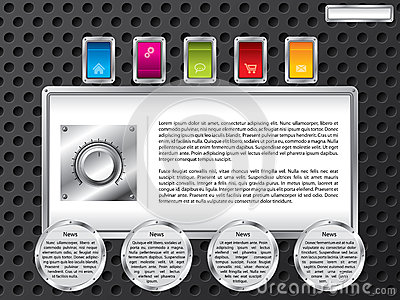 Technology web template with color buttons