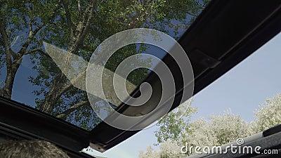 Techo cerrado de coche convertible cerrar la vista interior 4k. Día de verano caluroso y azul metrajes