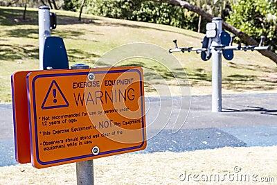 Tecken för övningsutrustningvarning