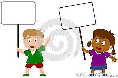 Tecken för 2 blankt ungar
