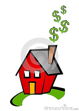 Tecken för hus för konstgemdollar