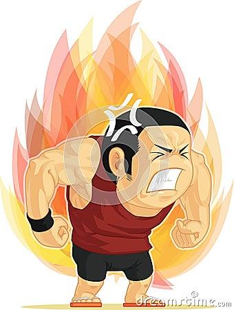 Tecknad film av den ilskna mannen