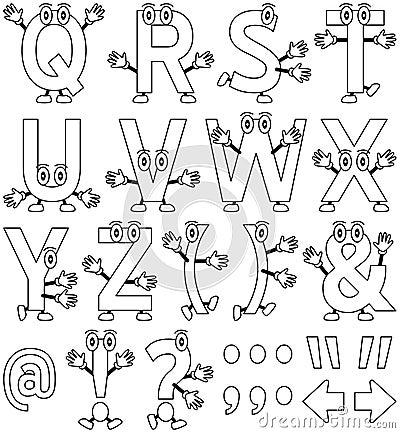 Tecknad filmfärgläggning för 2 alfabet