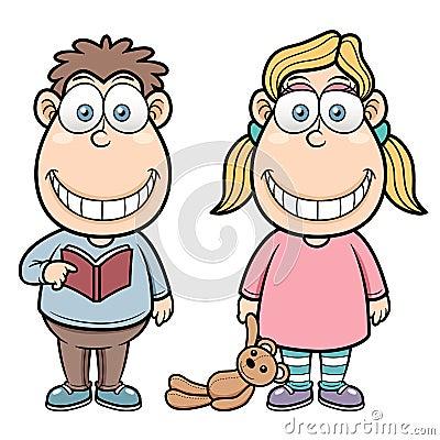 Tecknad filmpojke och flicka