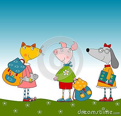 Tecknad filmtecken. Svin, hund och katt
