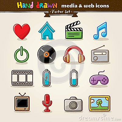 Tecknad rengöringsduk för medel för underhållninghandsymboler