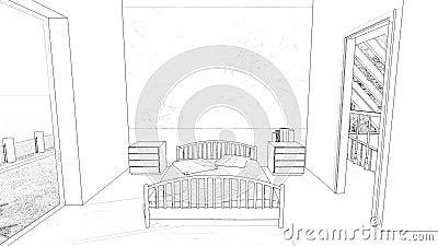 Teckningssovrum royaltyfri illustrationer
