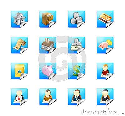 Teclas do negócio com ícones do Web