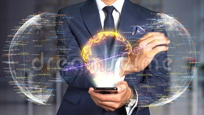 Tecnologia do conceito do holograma do homem de negócios - edição de direitos vídeos de arquivo