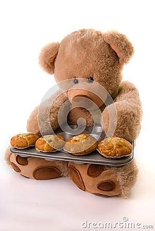 Teddy baking muffins