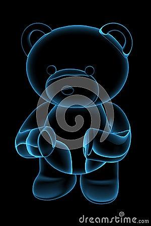 Teddy bear 3D rendered blue