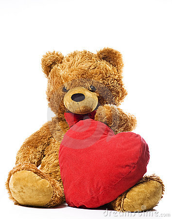 Free Teddy Bear And Red Heart Royalty Free Stock Images - 13136859