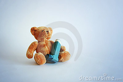 Teddy bear and asthma spray