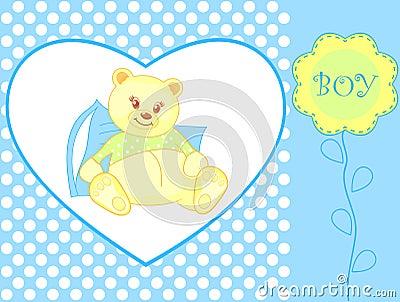 Teddy bear - baby boy arrival announcemen Vector Illustration