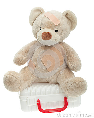 Teddy Bear with Bandages and Child Medical Kit