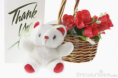 Teddy Bear and Basket of Red Roses