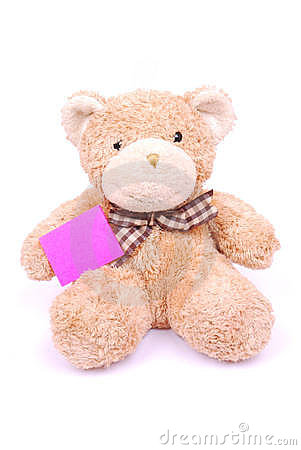 Teddy bear with blank note