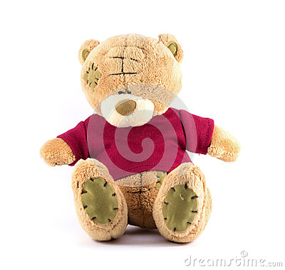 TEDDY BEAR brown color with red shirt on white background