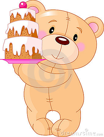 Teddy Bear with cake