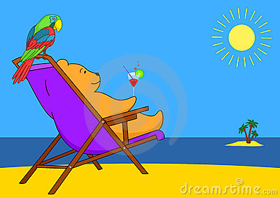 Teddy bear in a chaise lounge on a beach