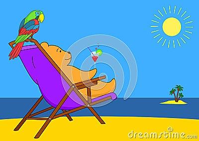 Teddy bear in a chaise lounge on a beach
