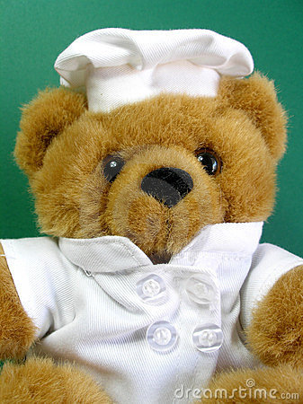 Teddy bear is the chef, green background