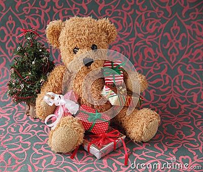 Teddy bear with Christmas presents
