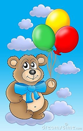 Teddy bear with color balloons on blue sky.