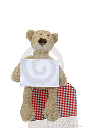 Teddy bear with destination card and suitcase