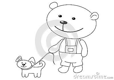 Teddy-bear with a dog, contours