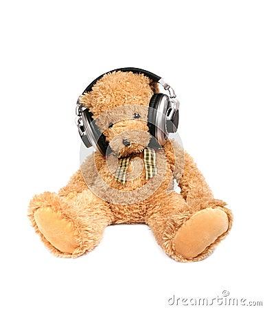 Teddy bear with ear-phones