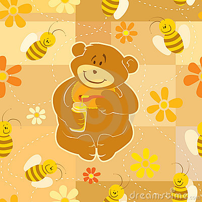 Teddy Bear eat honey