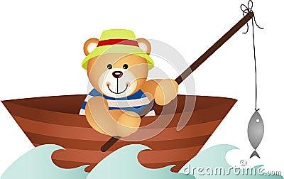 Teddy bear fishing in a boat
