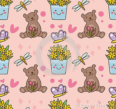 Teddy bear and flower seamless pattern Stock Photo