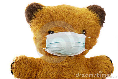 Teddy bear with flu mask