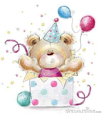 Teddy Bear With The Gift.Happy Birthday Card Stock ...
