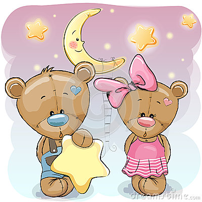Free Teddy Bear Girl And Boy With A Star Royalty Free Stock Images - 73597709