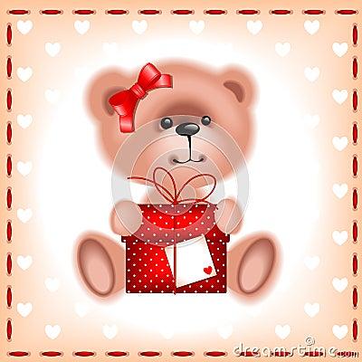 teddy  bear girl with a gift