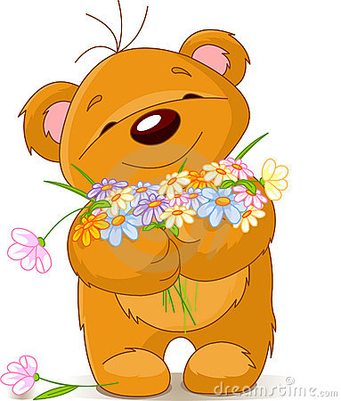 Teddy bear giving a bouquet
