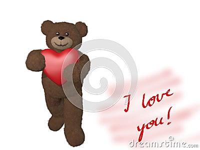 Teddy bear giving heart