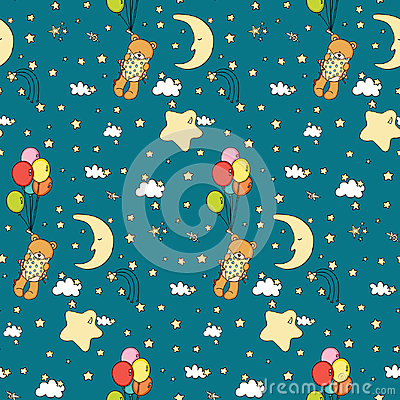 Teddy bear in good night seamless background Vector Illustration