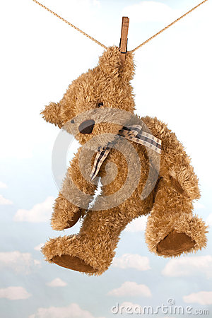 Teddy bear hanging on clothes line drying