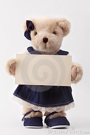 Teddy bear holding a blank card