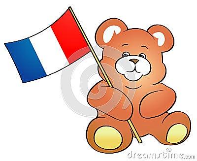 Teddy Bear holding French flag