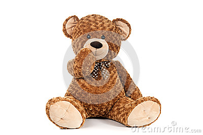 Teddy Bear holding mouth