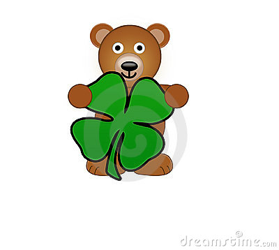 A Teddy Bear Holding Shamrock