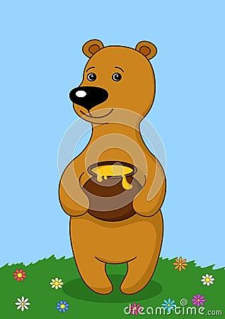 Teddy bear with a honey pot