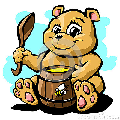Teddy bear with honey vector illustration Vector Illustration