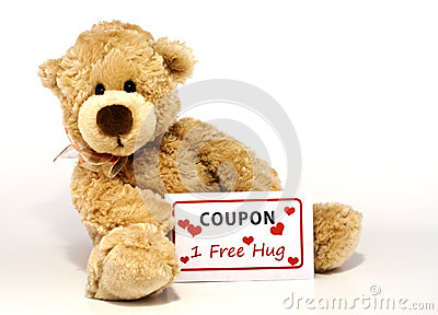 Teddy bear with hug coupon