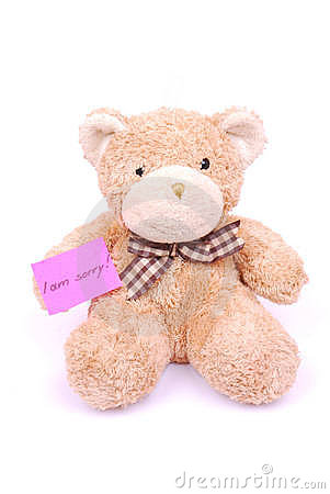 Teddy bear with I am sorry note
